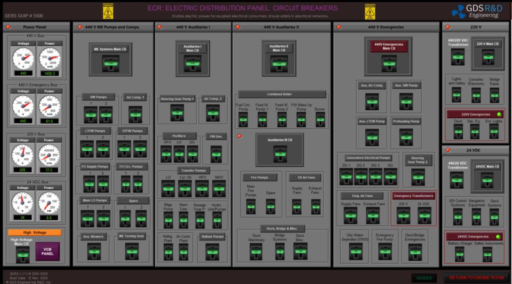 GDS Ship Engine Room Simulator: Engine Control Room: Circuit Breakers Panel. Comprehensive Engine Room Simulator Training. IMO Model Course 2.07. IMO STCW 2010 (with Manila Amendments)
